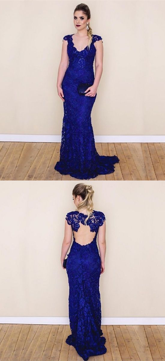 aa7ea18d41d04 Royal Blue Lace Mermaid Prom Dresses, Simple V Neck Cap Sleeves Evening  Gowns,
