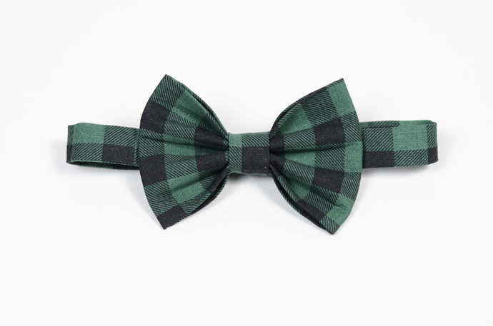Little Guy Bow Tie - Holiday Collection 2018 - Green and Black Buffalo Plaid