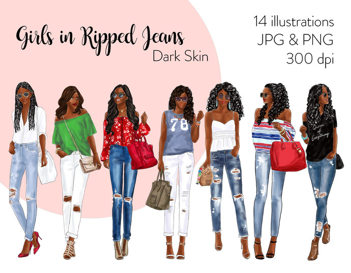 Watercolor fashion illustration clipart - Girls in Ripped Jeans - Dark Skin