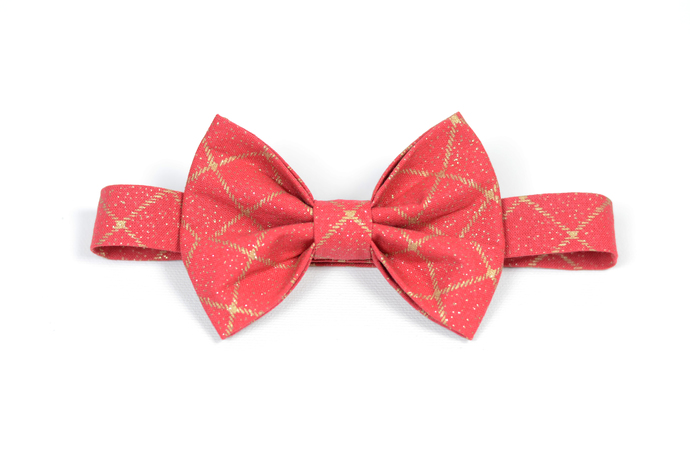 Little Guy Bow Tie - Holiday Collection 2018 - Red and Gold Windowpane