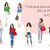Watercolour fashion illustration clipart - Girls in Ripped Jeans - Light Skin