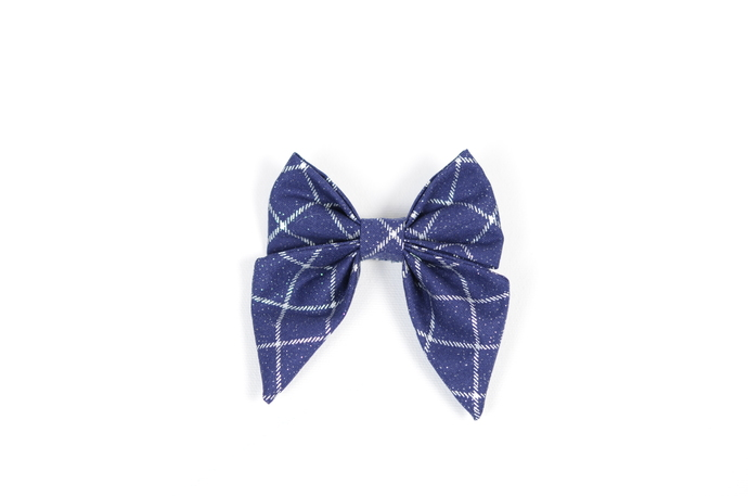 Jane Hair Clip - Holiday Collection 2018 - Navy and Silver Windowpane