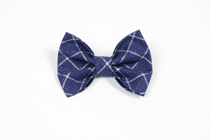 Large Cotton Bow Clip//Clip on Bow Tie - Holiday Collection 2018 - Navy and