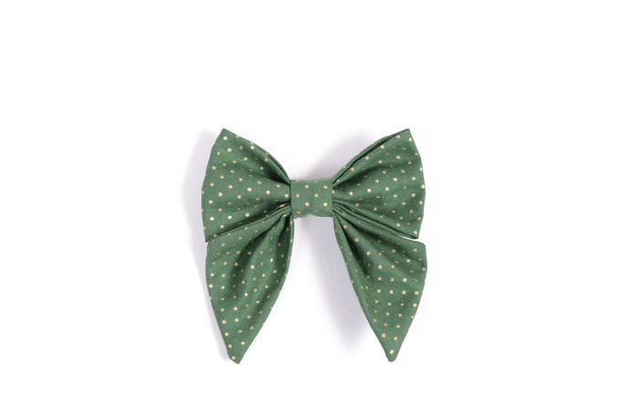 Jane Hair Clip - Holiday Collection 2018 - Green with Gold Dots