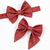 "Jane Hair Clip - Holiday Collection 2018 - Deep Red ""Linen"" with Gold"