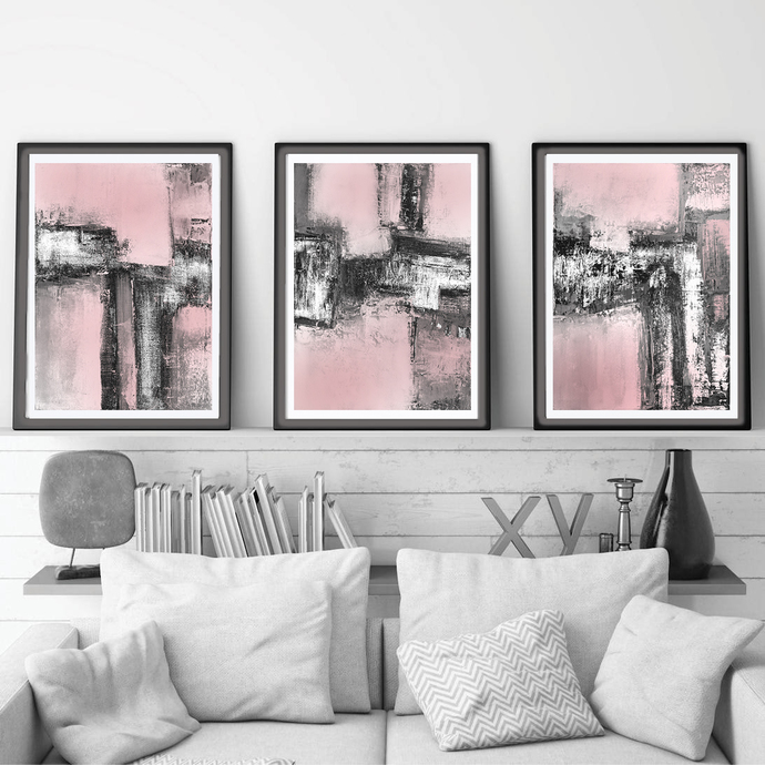 Pink & Gray Triptych Wall Art, Set of 3 Prints, abstract 18x24, Digital