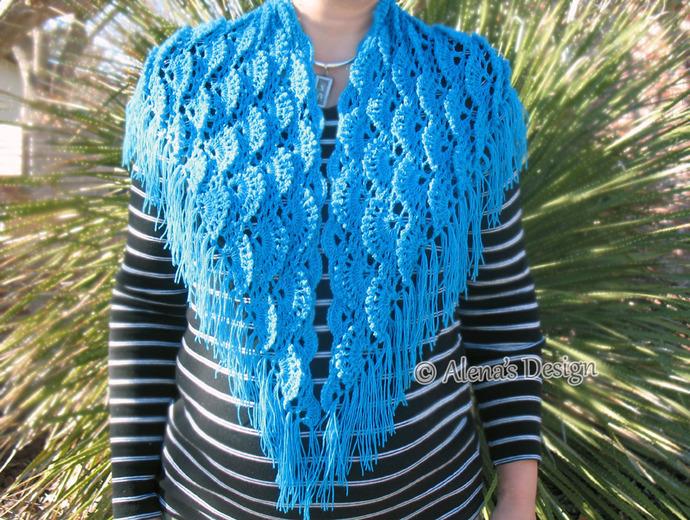 Crochet Pattern 184 Crochet Shawl Pattern By Alenasdesign On Zibbet