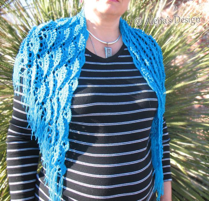 Crochet Pattern 184 Crochet Shawl Pattern Triangle Lace Shawl Blue Cowl Fringe