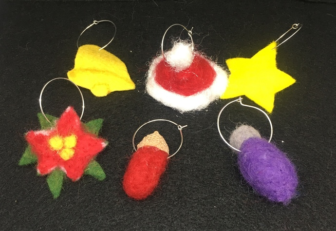 Set of 6 Handmade Christmas Wine Charms Needle Felted Wet Felted