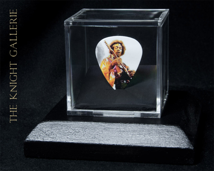 Commemorative guitar pick and display case: Jimi Hendrix