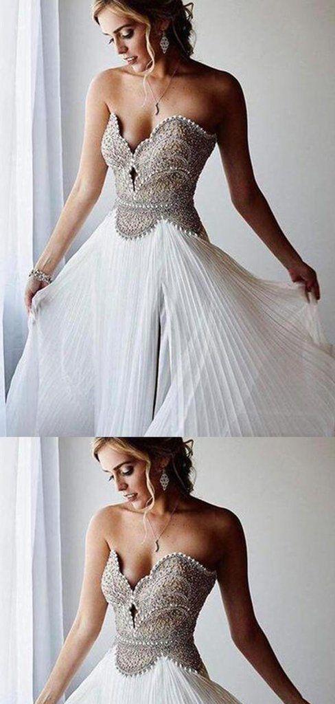 A-Line Sweetheart Floor Length White Chiffon Long Prom Dress, Elegant Prom