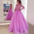 A-Line Jewel Half Sleeves Lilac Tulle Prom Dress BD1986