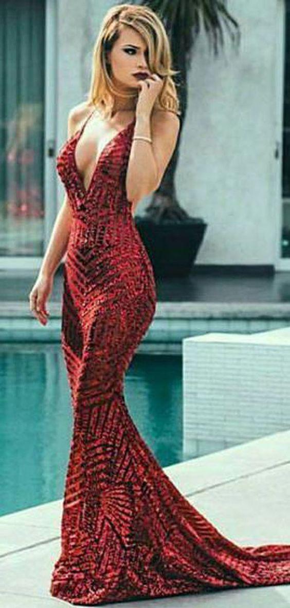 47fe7a1c64e Deep V-neck Red Sequin Mermaid Prom Dresses
