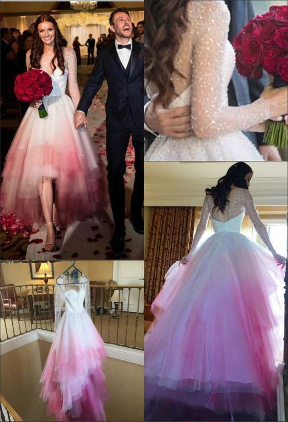 fc8c322ddb A-Line Round Neck Long Sleeves Pink Ombre Wedding Dress With Beading