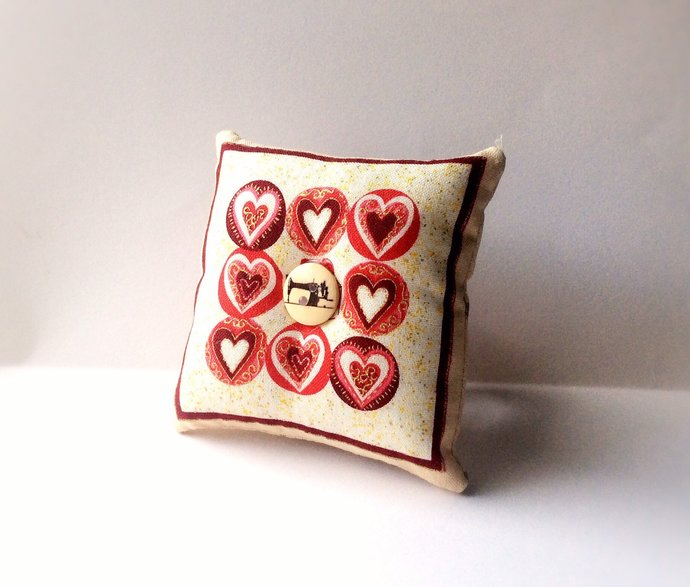 Handmade Heart Shape Design Square Wrist Pin Cushion
