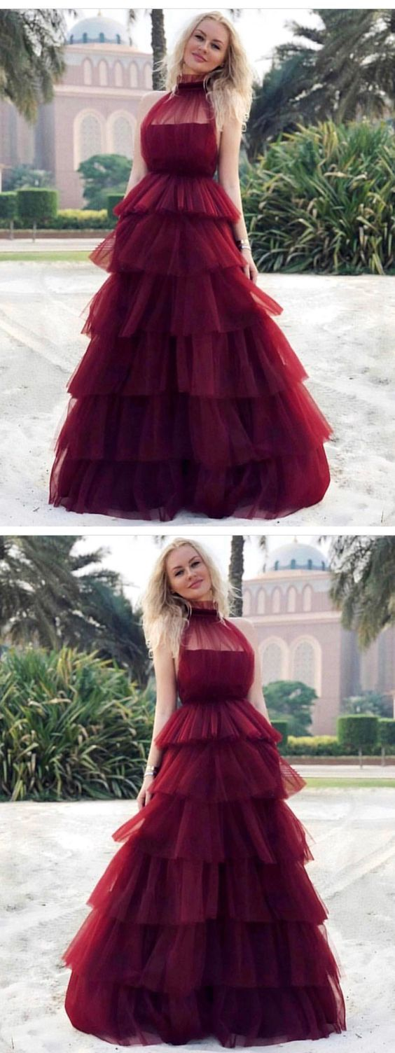 CHIC A-LINE HIGH NECK BURGUNDY PROM DRESSES TULLE LONG PROM DRESS EVENING DRESS