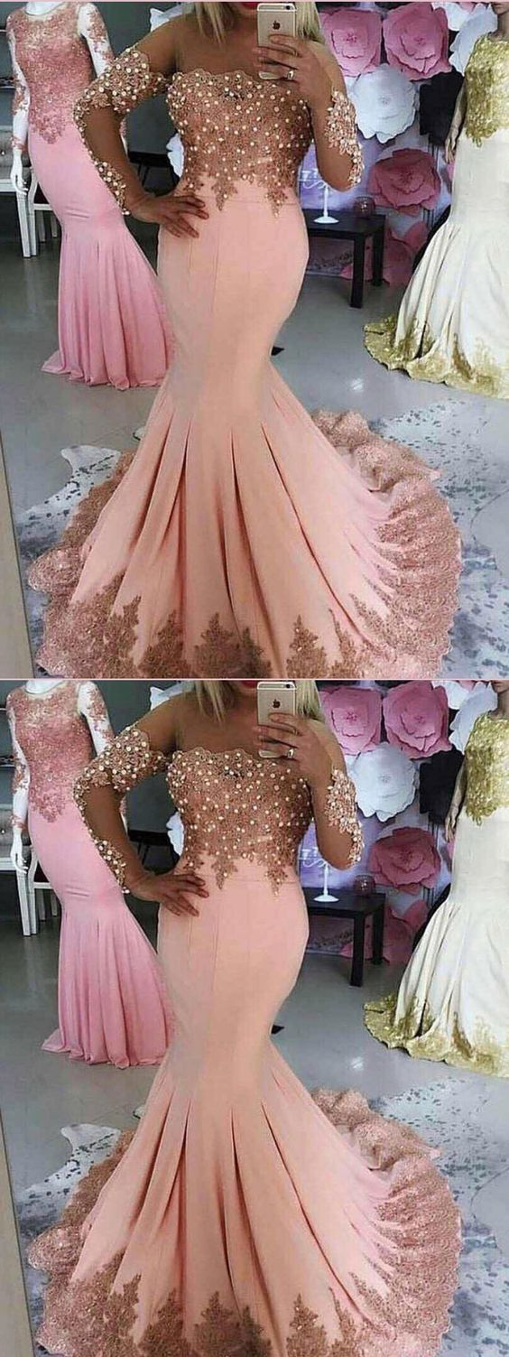 MERMAID SCOOP AFRICAN PROM DRESSES LACE PINK LONG PROM DRESS EVENING DRESS