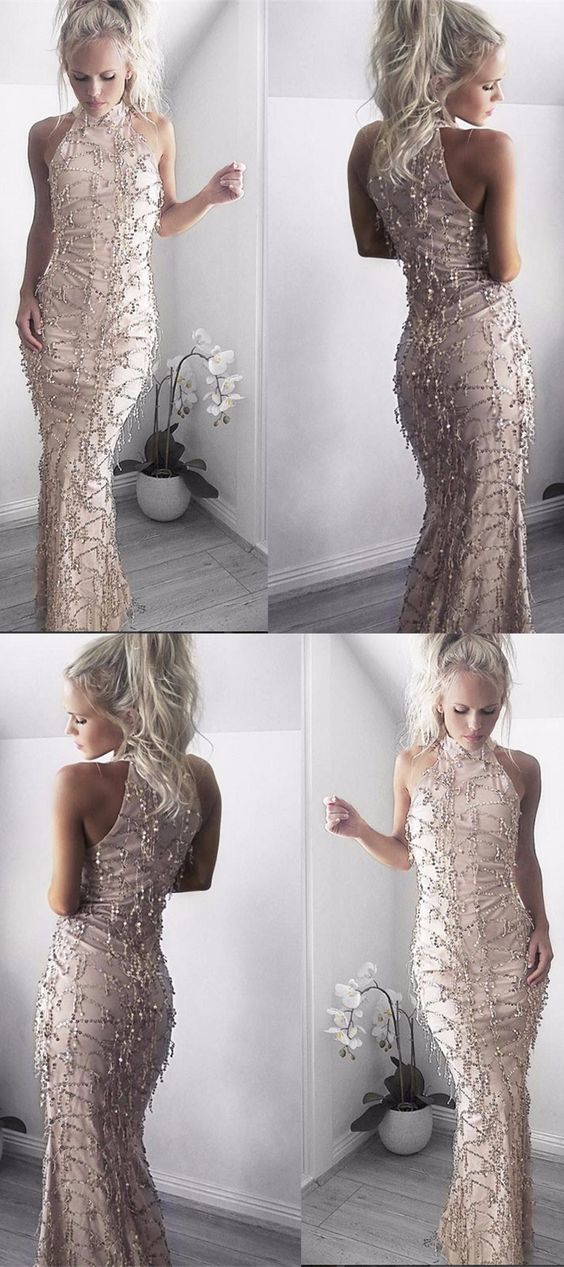 Stunning Ivory Sequins Mermaid Evening Dresses For Womenformal High Neck Long Prom Dresses