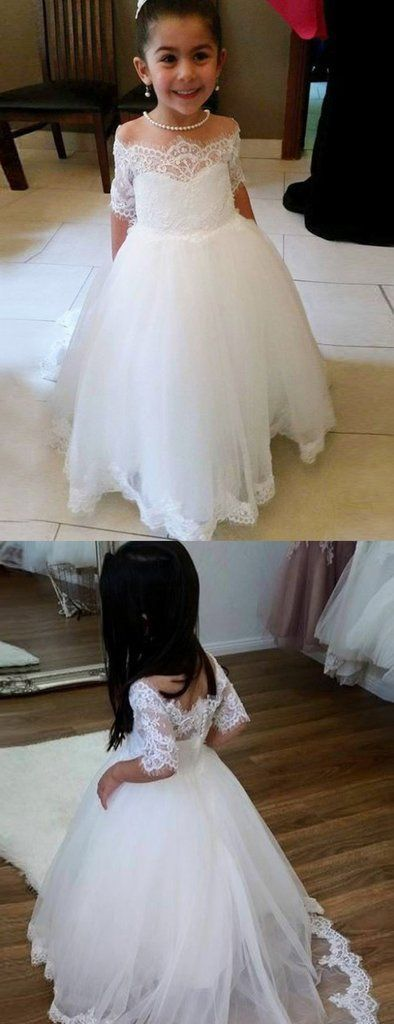 b0a756d239d1 Cute Off Shoulder Tulle Flower Girl Dresses, Popular Lace Little Girl