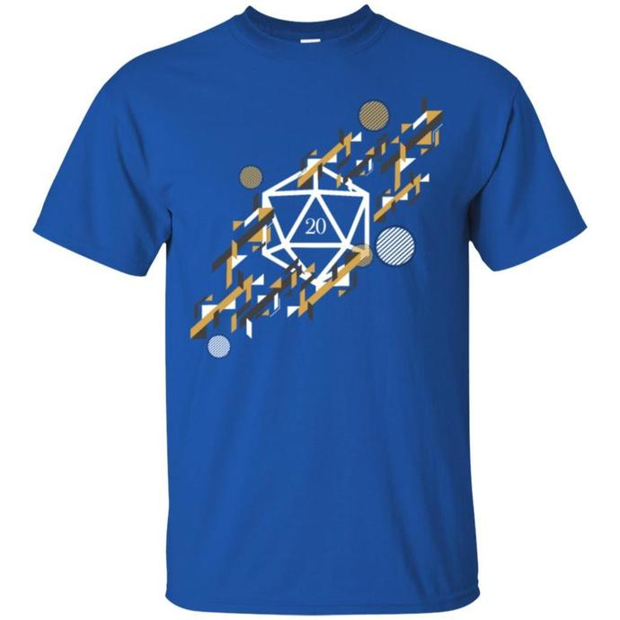 Futuristic Retro Polyhedral D20 Dice Tabletop Men T-shirt, Retro Futuristic