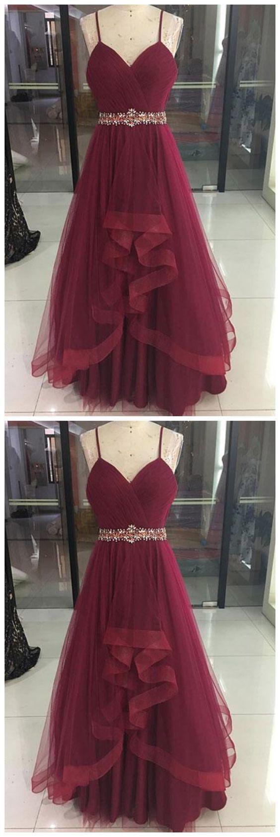 Sexy Burgundy V-Neck Tulle Prom Dress,Spaghetti Straps Burgundy Evening Dress