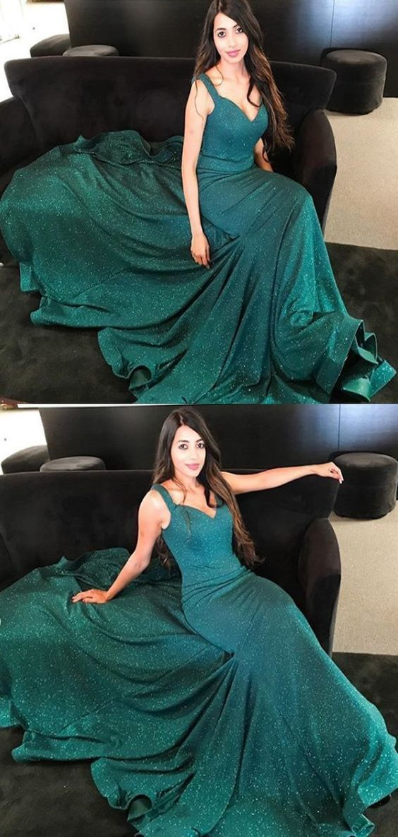 7affb9dd59f4 Spaghetti Straps V-neck Dark Green Satin Prom Dresses,Cheap Prom Dresses