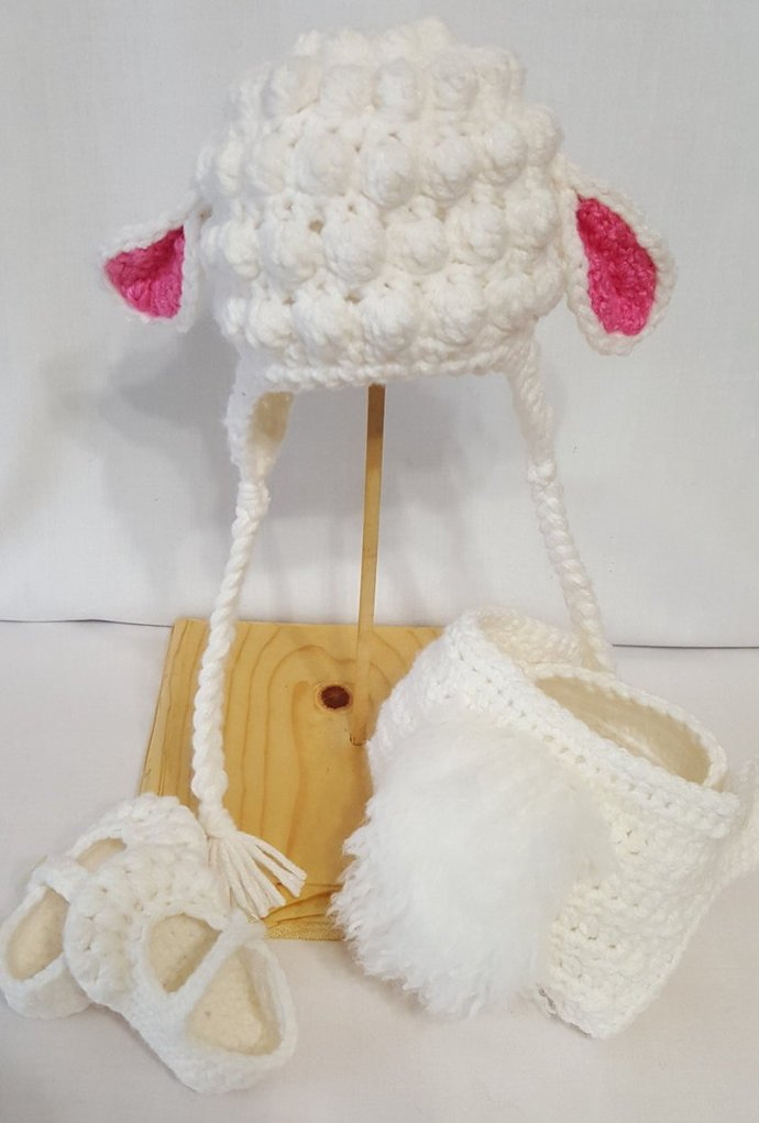 Crochet Lambs Photo Prop Set For 0-3 Month Old