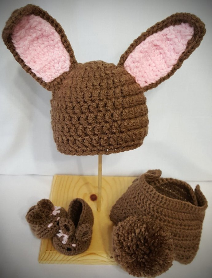 Crochet Bunny Photo Prop Set For 0-3 Month Old