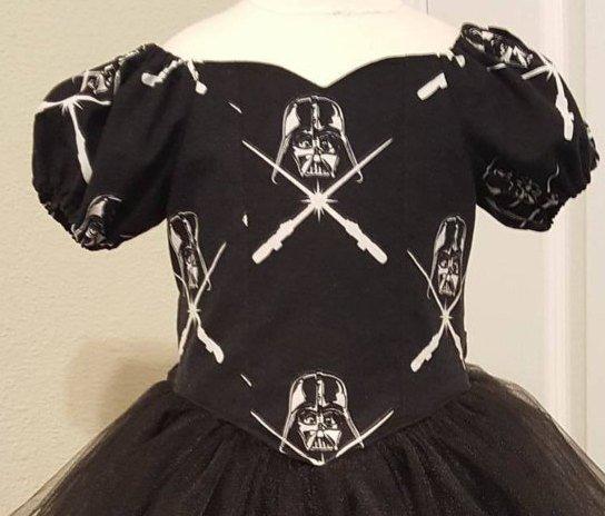 Custom Princess TuTu Dress made with Star Wars Darth Vader glow in the dark