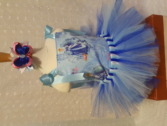 Custom 6 Month Tutu Outfit made with Cinderella fabric