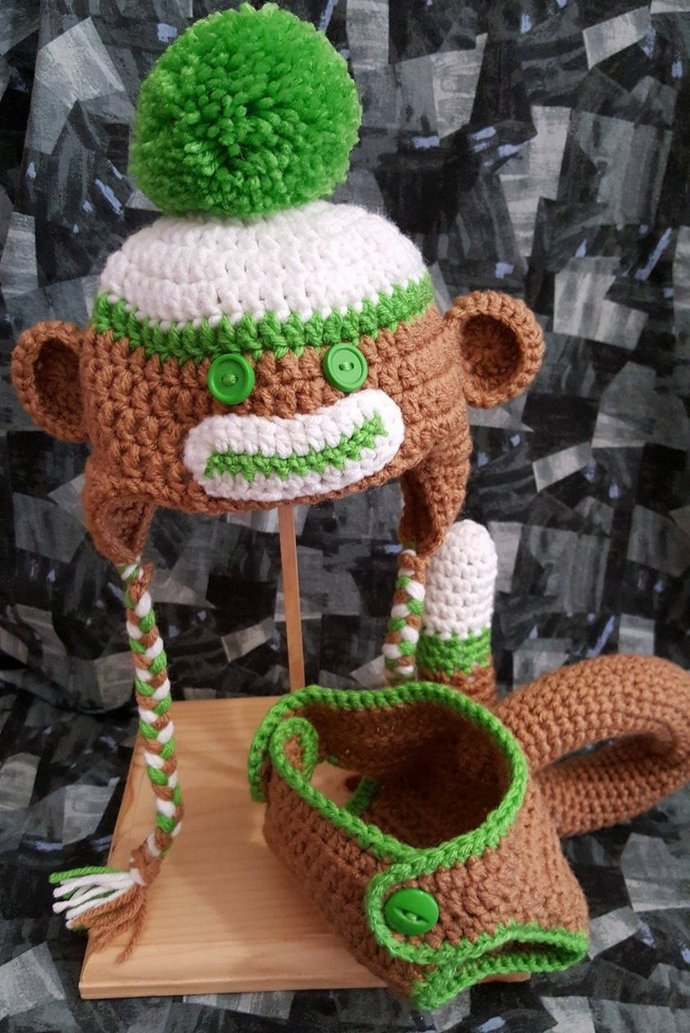 Newborn Crochet Monkey Hat & Diaper Cover For Your Photo Shoot You Choose Color