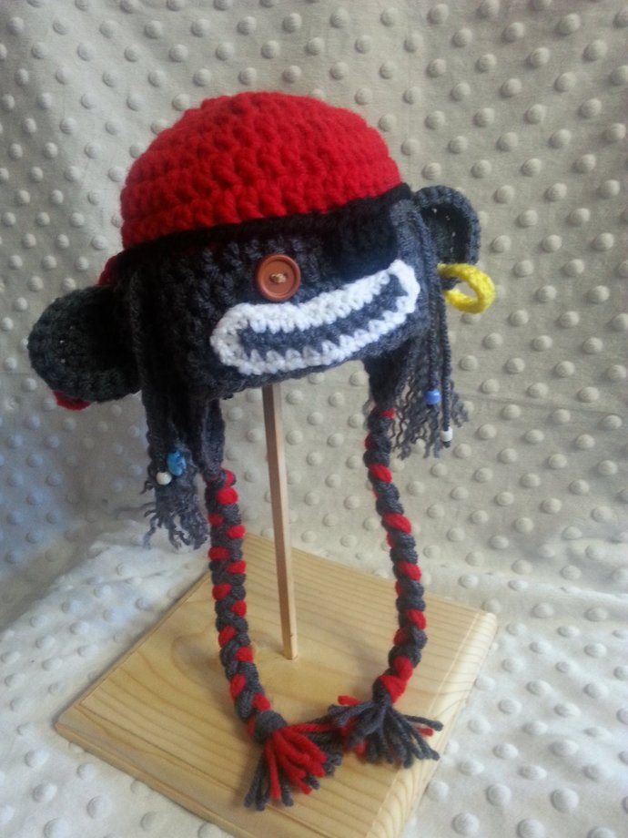 Newborn Crochet Pirate Monkey Hat and Diaper Cover For Your Photo Shoot