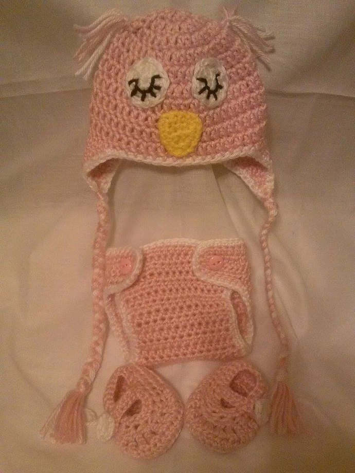 Newborn Crochet Sleeping Owl Hat Diaper by Meep Meep Boutique on dd2dea790dcf
