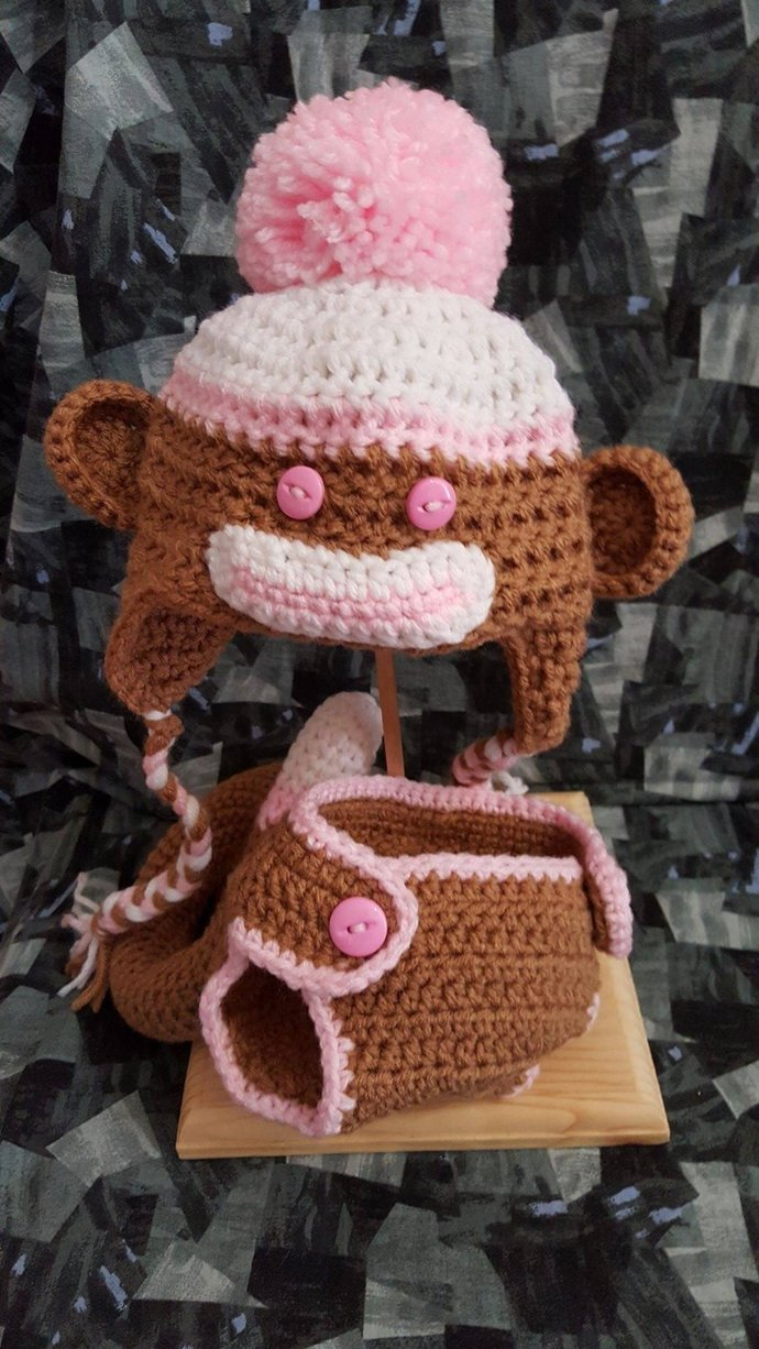 Newborn Crochet Pink Monkey Hat & Diaper Cover For Your Photo Shoot