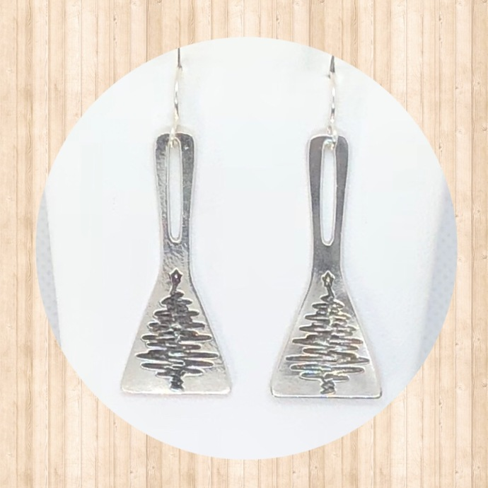 Sterling Silver Drop Triangular Earrings with Christmas Trees
