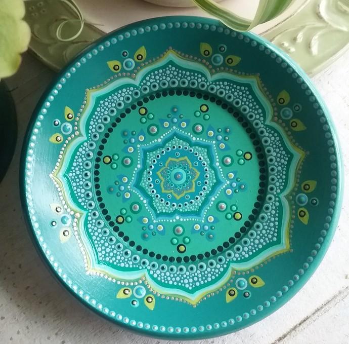 Repurposed wooden frame-Round Turquoise Mandala Pattern, OOAK