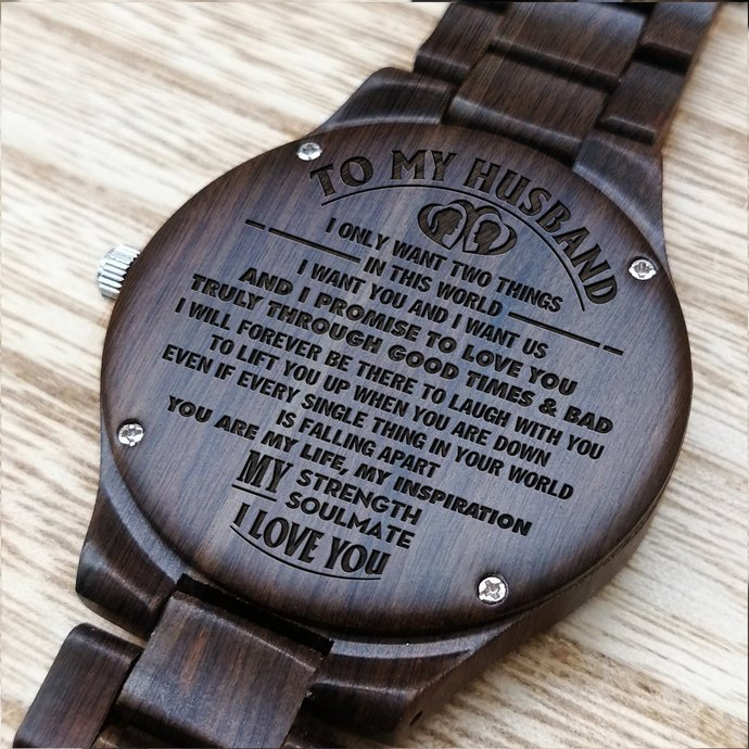 Husband Watch - Perfect Gifts For Husband - Engraved Wooden Watch - Men's Watch