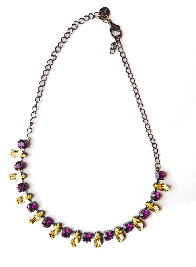 Swarovski Crystal Necklace, Citrine and Amethyst hues, Festive Jewelry, Holiday