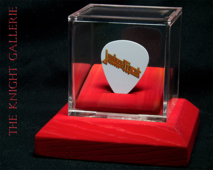 Commemorative guitar pick and display case: Judas Priest