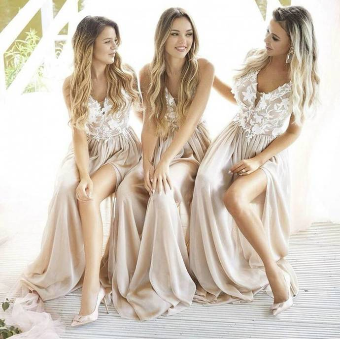 Princess Champagne Bridesmaid Dresses Long Prom Dress with White Lace Appliques