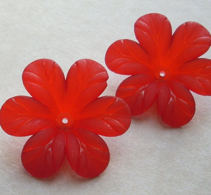 Acrylic Flower Beads, Extra Large Tropical Bloom, Matte Red, 4