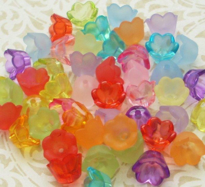 Lucite Flower Beads, Small Bell Flower, Matte Translucent Mix, 64