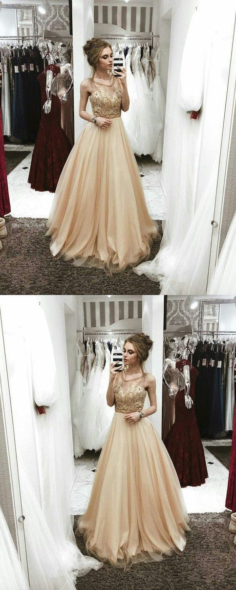 Champagne Prom Dress, Sexy Round Neck Prom Dress, Tulle Long Prom Gown