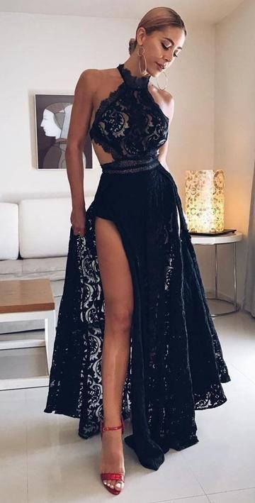 Sexy Black High Slit Lace Halter Evening Party Prom Dresses Evening Gowns S5784