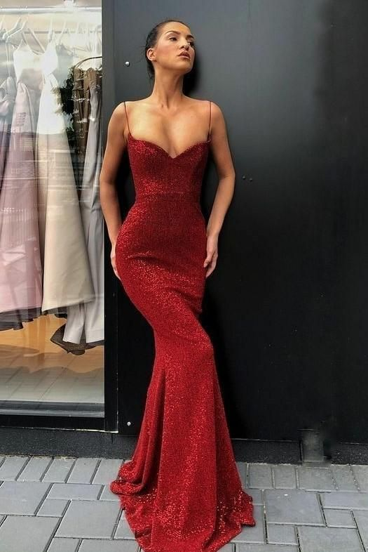 012bebb0551e Spaghetti Straps Sexy Red Sequin Prom Dress by RosyProm on Zibbet