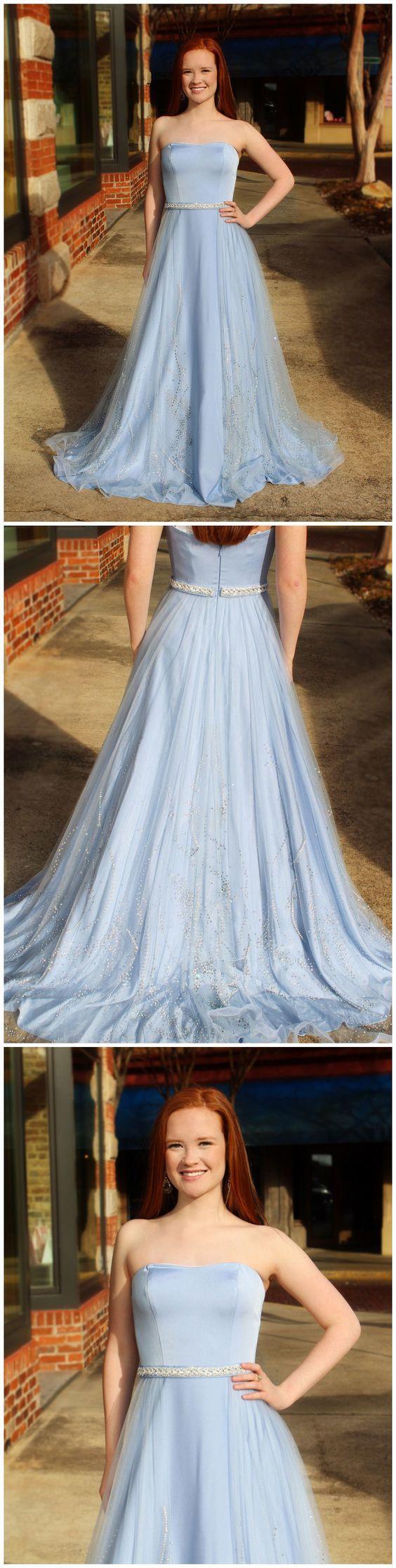 Elegant Satin Strapless Neckline A-line Prom Dresses With Beadings