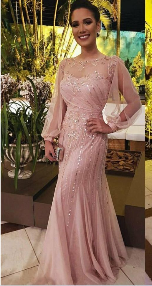 fc4544c4f00 Shiny Sequined Mermaid Dresses Party Evening With Long Sleeves Sheer Bateau  Neck