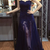 A-Line Sweetheart Navy Blue Tulle Prom Dress with Appliques
