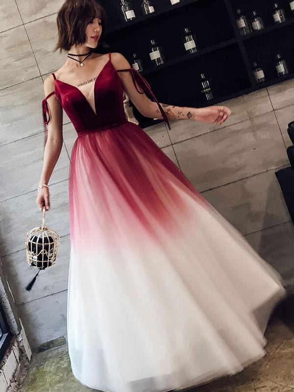 Ombre Prom Dresses A Line Spaghetti Straps Long Prom By Dress On