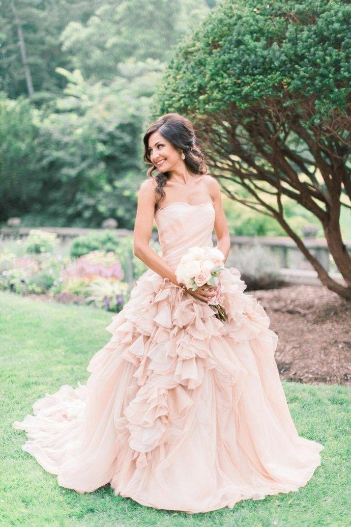 d29021ea322 CStrapless Blush Ball Gown Wedding Dress by Miss Zhu Bridal on Zibbet